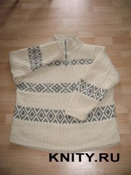 Вязание для мужчин свитера с жаккардовым узором и косами