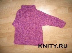 Детский свитер с рельефными узорами