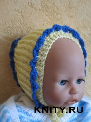 Шапочка для новорожденного английской резинкой.