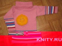 Вязание на машине детского свитера Солнышко