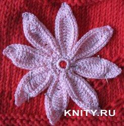 Вязание большого плоского цветка