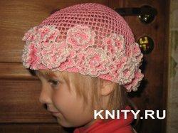 Вязание детской шапочки простой филейной сеткой