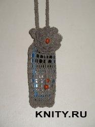 Льняная сумочка-мешочек для мобильного телефона