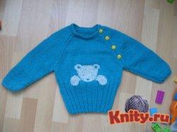 Вязание детского пуловера с мишкой
