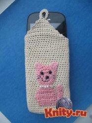 Вязание крючком сумочки для мобильного телефона Pink Cat