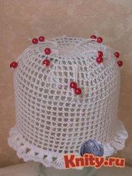 Вязаная шапка для девочки крючком Весёлые бусинки