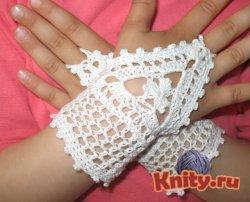 Вязание митенок для девочки крючком