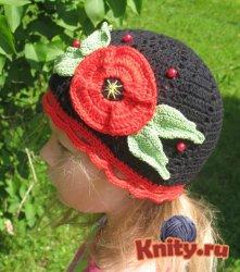 Вязание шапочки с маком