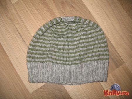 Вязания мужской шапки спицами